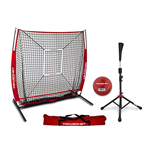 PowerNet Praxis Net 5 x 5 + tragbar Tee (Paket mit Strike Zone, und Training Ball) für Baseball Softball -