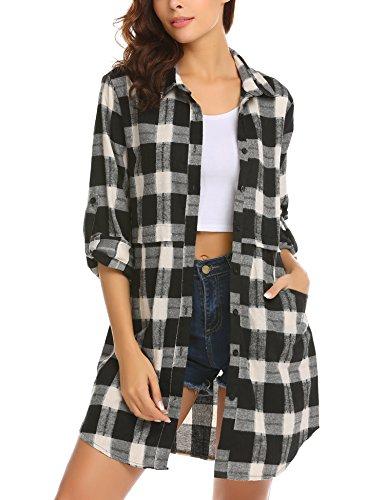 UNibelle Damen Kariert Langarm Oversize Hemd Button Longshirt Cardigan Top Schwarz XXL