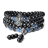 108 Perlen Multilayer Kyanit und Obsidian Mala Wickelarmband Gebetskette für Damen/Herren