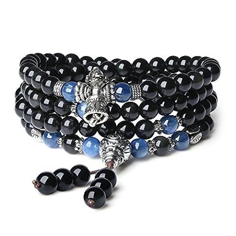 6mm Bracelet/Collier Mala 108 Perles Bouddhistes Pierres Naturelles Précieuses Obsidienne