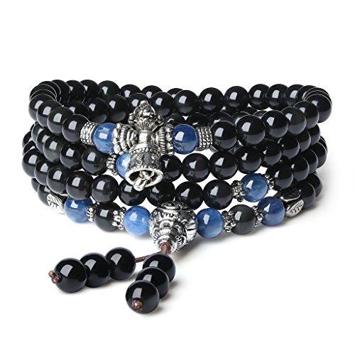 Coai bracciale con 108 perle mala in ossidiana e cianite, bracciale rosario buddhista