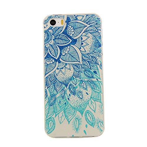 iPhone 5S TPU Custodia,iPhone 5S Cover, Morbida Trasparente Silicone Gel Gomma Sottile Ultra Thin Slim con Bordo Protezione-fiore blu