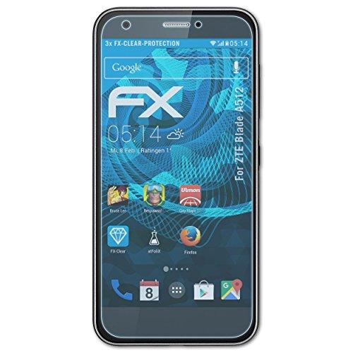 atFolix Schutzfolie kompatibel mit ZTE Blade A512 Folie, ultraklare FX Bildschirmschutzfolie (3X)