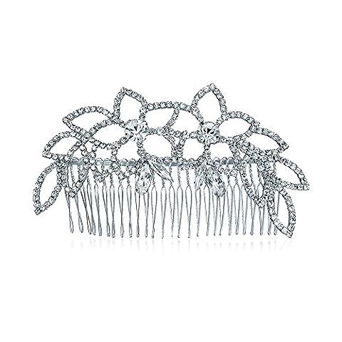 Bling Jewelry Leaf Princess Crystal Bridal Tiara Peigne Cheveux Plaqué Argent