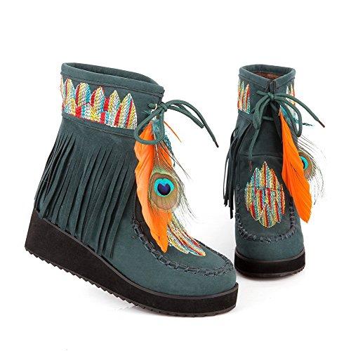 AllhqFashion Damen Mittler Absatz Gemischte Farbe Rund Zehe Schnüren Stiefel mit Fransig Dunkelgrün