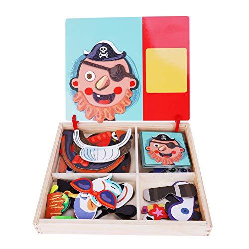 Kostüm Flugzeug Box - Magnetisches Holzpuzzle Magnetbox Kinder Pädagogisches Puzzlespiel Holzspielzeug Lernspielzeug Zeichenbrett Geburtstag 3-6 Jahren alt Kleinkinder Mädchen Jungen