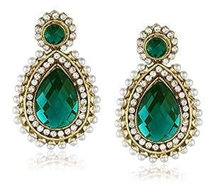Ava Traditional Drop Earrings for Women (Green) (E-VS-051)