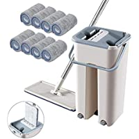 Autoclean Mop, Sistema De Limpieza con Fregona Y Cubo, Almohadillas De Mopa De Fibra Plana Trapeador De Microfibra, para la Limpieza del Hogar (1 Barrel +1 mop + 8pcs Cloth)