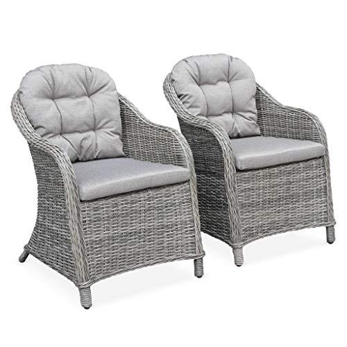 2c2920bca2dcbd Alice s Garden - Lot de 2 fauteuils en résine tressée Arrondie - Lecco Gris  - Coussins