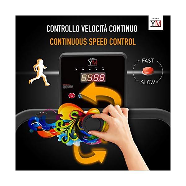 Tapis ROULANT Elettrico Pieghevole Bluetooth (1800W / 2,5HP Picco), App KINOMAP Coaching Multiplayer, 10 KM/H, Sensore… 4 spesavip