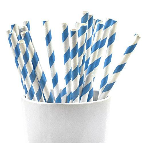 Frau WUNDERVoll 25 Stueck Papierstrohhalme 19,5 cm lang, Blaue Streifen