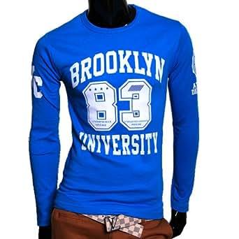 Herren Brooklyn Sweatshirt 100% Baumwolle Pulli Pullover Neu (XXL, Blau)