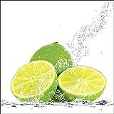 Artland Qualitätsbilder I Glasbilder Deko Glas Bilder 20 x 20 cm Ernährung Genuss Lebensmittel Obst Foto Gelb A6FB Limette mit Spritzwasser