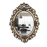 LEI ZE JUN UK Mirror- Spiegel im europäischen Stil geschnitzten ovalen Spiegel großes Badezimmer Wand Spiegel Waschbecken Arbeitsplatte Schminkspiegel (Altgold) Wandspiegel