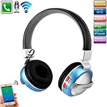 Over Ear Drahtlosem Bluetooth Headphone, TechCode Noise Cancelling Stereo-Tonqualität Bluetooth 4.2 faltbarer Wireless Kopfhörer für Telefon-Computer Schwerer Bass-Ton-Kopfhörer mit Mic Unterstützung 3.5mm Audioeingabe u. FM Gebrauch für iPhone 7/7 plus, 8/8 plus, iPhone X, iPhone 6/6s,Galaxy S8 / S7, S7 / S7 Rand, Samsung S9 / s9 Plus, Tablet PC / Andere Bluetooth-Gerät (Blau)