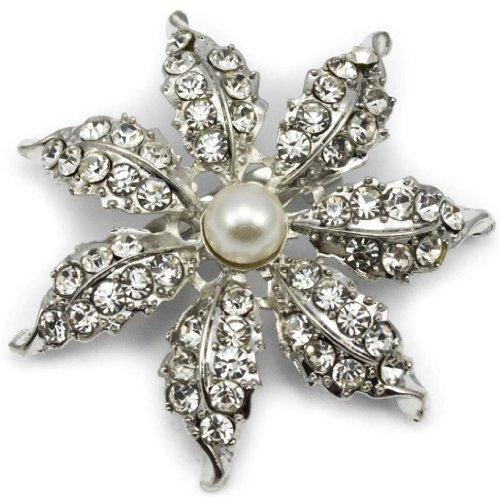 Elixir77UK Silver Colour Flower Snowflake Bridal Gift Pin Brooch With Plain Crystals and Faux Pearl UK SELLER
