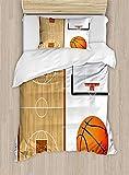 Completo copripiumino per bimbo, formato Twin, testiera per campi da basket Illustrazione Completo a tema sportivo per tema pallacanestro, set decorativo per 2 pezzi con 1 cuscino Sham, nero arancio p
