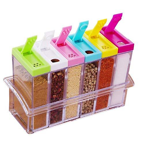 Jeerui Spice Jar Set Gewürzdosen Set mit 6 Teilen aus Kunststoff mit Dem Aufbewahrungsregal Accessoires für Küche, Speisewürze Essig Flasche (Transparent) Spice Jar Set