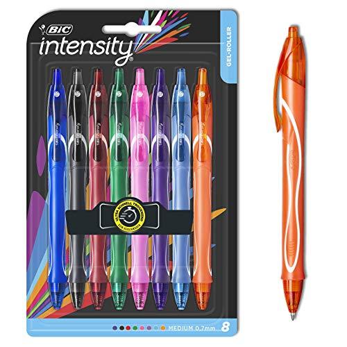 BIC Intensity Quick Dry - Bolígrafo de tinta gel (0 mm, 7 mm) en diferentes colores - lápices de gel de colores para escribir o dibujar - mango fijo para máxima comodidad - 8 unidades