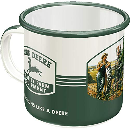 - John Deere - Quality Farm Equipment , Retro Emaille-Becher , Vintage Geschenk-Tasse , Outdoor Geschirr ()