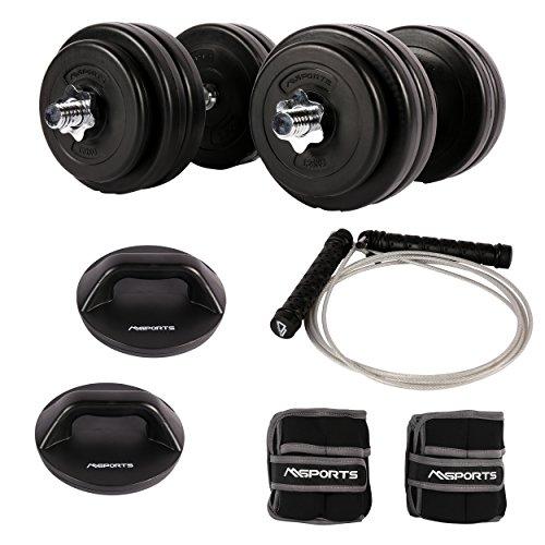 MSPORTS Fitness - Set für den ganzen Körper - 30 kg Kurzhantelset - 1 Paar drehbare Liegestützgriffe - Springseil mit Gewichten - 1 Paar Gewichtsmanschetten 2 kg
