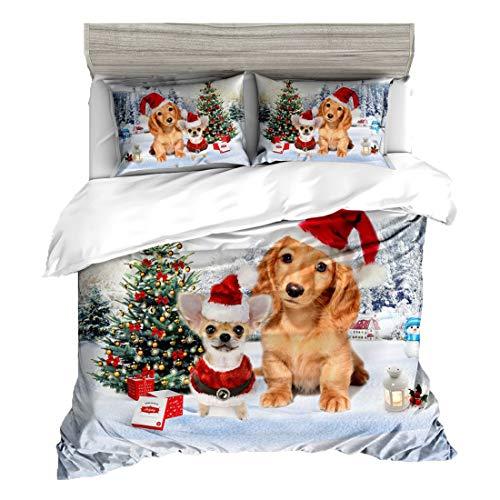 aoeiuv Weihnachts-3D-Bettwsche fr Katzen und Hunde 100% Polyesterfaser Bettwschepaket Einschließlich Bettbezge und Bettlaken 3 stck,C,228CMX228CM