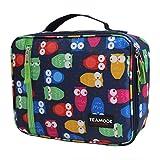 TEAMOOK Lunch bag Borsa Pranzo con Tracolla Grande Capacità Borsa Termica pasto per la a scuola e lavoro 5L (blu gufo)