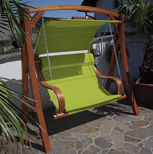 ASS Design Hollywoodschaukel Gartenschaukel MERU GRÜN aus Holz Lärche inkl. Abdeckung