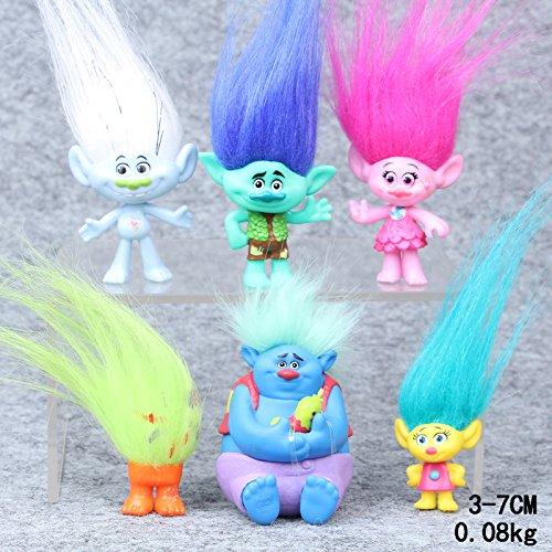 Trolls - set 6- figuras-con bolsa de plastica- 9-10 cm
