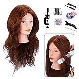 Tête à Coiffer Professionnelle Cheveux Naturel, MYSWEETY 100% de Cheveux Humains Poupée Tête de D'exercice avec Support, pour Curling Redressement, Marron 45,7cm, 22