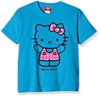 Hello Kitty Girl's Spotty Dress T-Shirt, Turquoise (Azure Blue), 7-8 Years (Manufacturer Size:Medium)