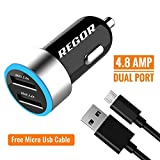 #5: Regor [4.8Amp - 2 Port] High Speed Car Charger for All Smartphones & Tablets + Free Micro USB Cable