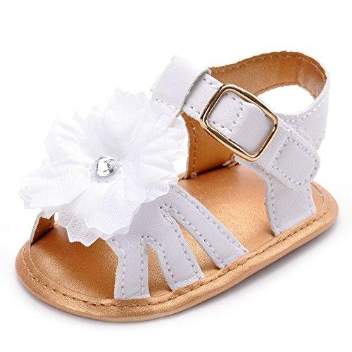 Estamico, Sandales de fleur blanche Bébé fille, Chaussures d'été pour bébés,6-12 Mois