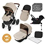 Ickle Bubba Stomp V3 All In One Baby Travel System With Isofix Base  Sand on Silver Chassis