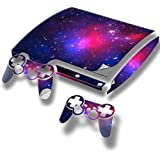 Stars, Skin Sticker Vinyl Cover with Leather Effect Laminate and Colorful Design for PlayStation 3 Slim