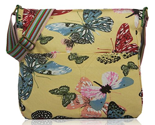 Kukubird Various Animals & Patterns Print Canvas Crossbody Bag Butterfly - Yellow