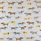 Beige Neuheit Hund Baumwolle Rich Leinen Look Stoff für Vorhänge Jalousien Craft Quilting Patchwork & Upholstery 139,7cm 140cm breit, Meterware,