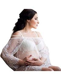 Mujeres Embarazadas Sexy Vestido de accesorios fotográficos Vestido sin tirantes de encaje Apoyos fotográficos embarazadas para