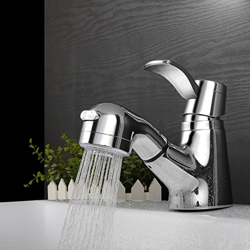 Qzny Messing Pull Down Becken Waschbecken Mischbatterie Einhebel Einlochmontage Hot Cold Wasserhahn Bad Tap Toilette Garderobe Hotel Chrome Simpleno -
