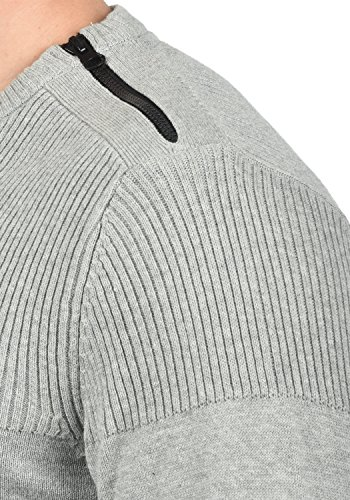 BLEND Franklin Herren Strickpullover Feinstrick Pullover mit Rundhals-Ausschnitt aus 100% Baumwolle Stone Mix (70813)