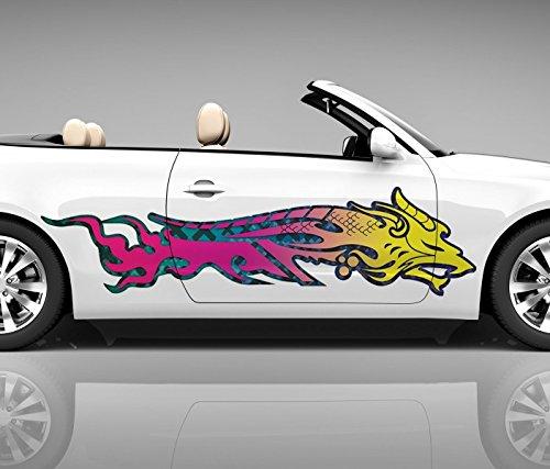 2x Seitendekor 3D Autoaufkleber Drache Dragon Wolf Digitaldruck Seite Auto Tuning bunt Aufkleber Rennstreifen Seitenstreifen Dekor Racing Autofolie Car Wrapping Motorrad LKW Decals Sticker Tribal Seitentribal CW002 Airbrush Carwrap, Größe LxB:ca. 160x40cm