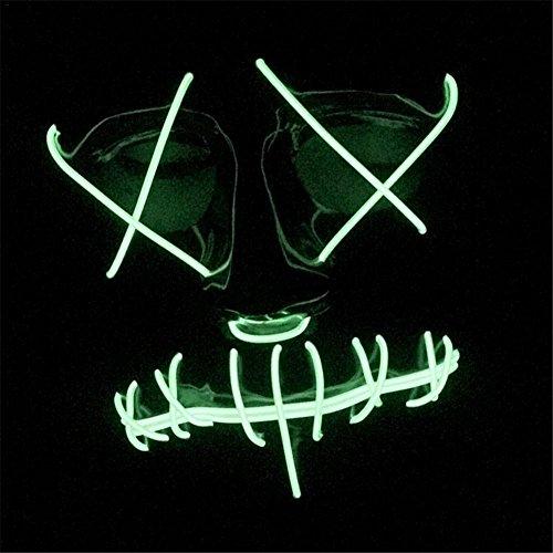 flower205Halloween Shuffle Dance Luminous Maske EL Kalten Licht Glowing Deko Ghost Face Prop Cosplay Licht LED Glow Scary EL Draht bis Grin Maske für Festival Parteien (Requisiten Awesome Halloween)