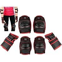 Niños protectores Set Equipo de Protección Rodilleras Coderas–Muñequeras para patines en línea Skater Patines, color negro y rojo, tamaño small