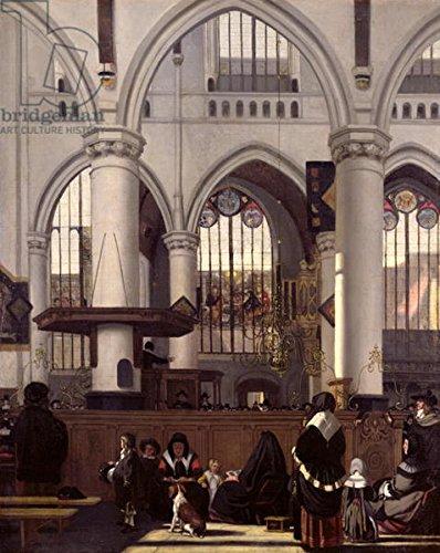 "Leinwand-Bild 50 x 60 cm: ""The Interior of Oude Kerk, Amsterdam, c.1660 (oil on canvas)"", Bild auf Leinwand"