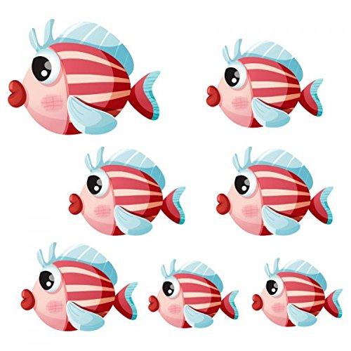Aufkleber Meer: Gartenbank Fische gestreift, 20 x 23 cm