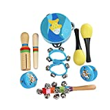 ammoon 10pcs/set Juguetes musicales Instrumentos de percusión Kit de ritmo de banda Incluso Pandereta Maracas Castañuelas Campanas Guiro de madera para Niños Niños Pequeños