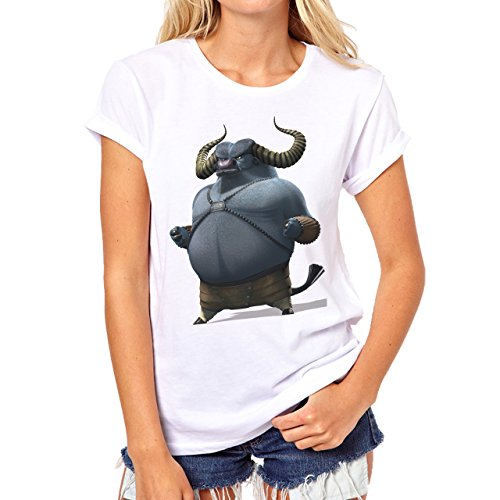 Kung Fu Panda Bull Background Damen T-Shirt Weiß
