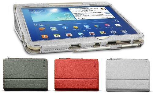 LuvTab Samsung Galaxy Tab 3 P5200 / P5210 (Tablet da 10 pollici) modello a portafoglio multi-angolo e muti-funzionale, supporto da tavolo e custodia pieghevole con 2 in 1 penna stilo / Sleep Wake Sensor - BIANCO