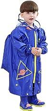 Regenmantel Kinder Mädchen Junge Regenjacke Regenbekleidung mit Kapuze Winddicht Regenponcho mit Schultascheposition