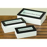 Preisvergleich für 3 x Box Cabin mit Deckel Holzbox Aufbewahrungsbox Holzkiste Holzdose Kiste
